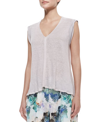 Slub-Jersey V-Neck Top