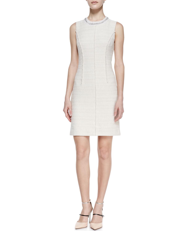 Womens Boucle Tweed Beaded Neck Sleeveless Dress   Rebecca Taylor   Cream (0)