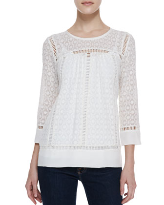 Geo Clip Brocade 3/4-Sleeve Top