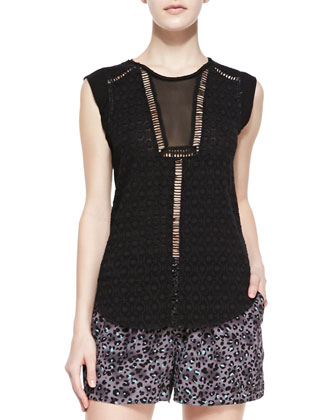 Geo Clip-Brocade Sleeveless Top & Silk Leopard-Print Shorts