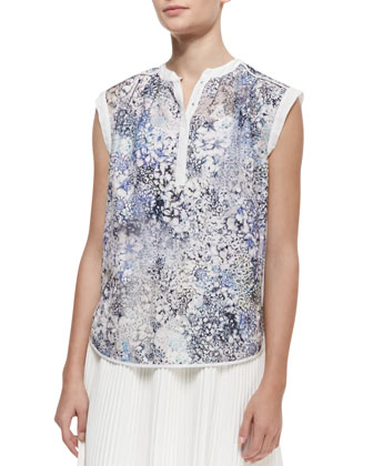 Feathered Meadow Silk-Blend Short-Sleeve Top