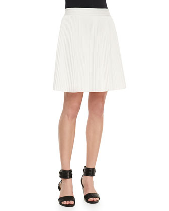 Knit Open Weave-Sweater & Pleated Stretch-Jersey Skirt