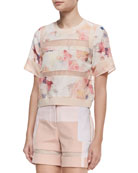 Enchanted Gardens Voile Tee, Melon/Multicolor
