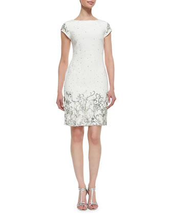 Shift Style Beaded & Sequined Cocktail Dress, Ivory
