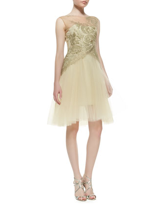 Sleeveless Embroidered Bodice Cocktail Dress, Gold