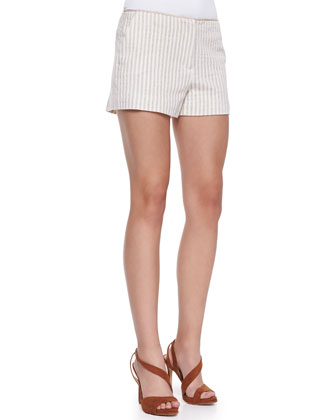 Striped Shorts with Braided Cord Waistband