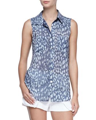 Leopard-Print Sleeveless Silk Western Blouse