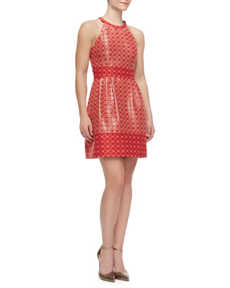 Printed Halter Dress, Bright Coral