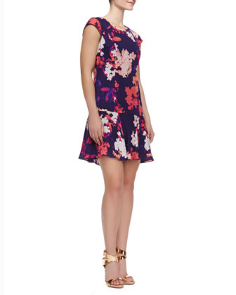 Cap Sleeve Floral Print Dress, Dark Violet