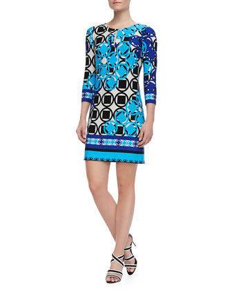 3/4-Sleeve Geo Print Jersey Dress, Carolina Multicolor