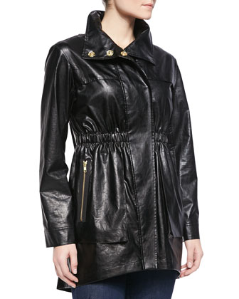 Covered-Placket Anorak Jacket, Black