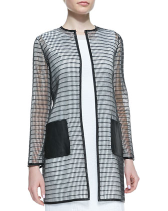 Soho Rectangular Mesh Coat & Sleeveless Croc Jacquard Gramercy Dress