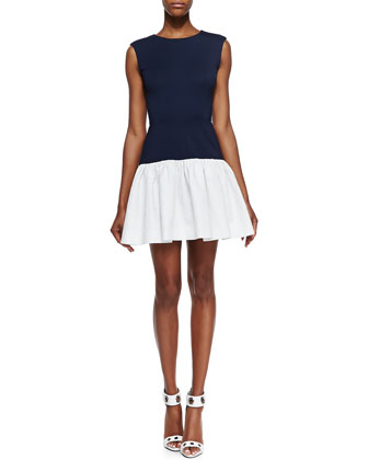 Sleeveless Drop-Waist Combo Dress, Eclipse Blue/White