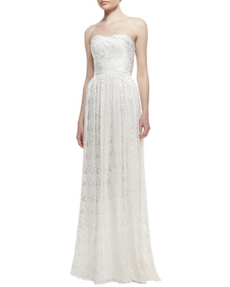 Strapless Burnout Floral Pattern Gown, Ivory