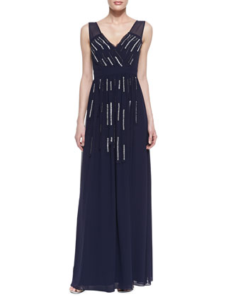 Sleeveless Beaded Strip Gown, Eclipse