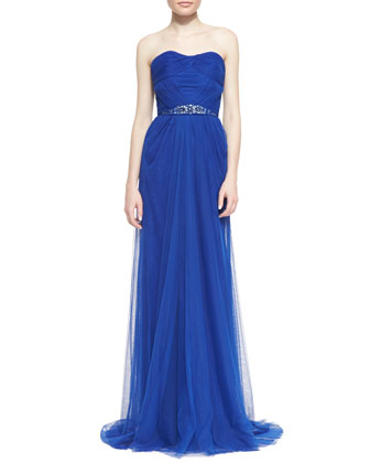 Strapless Pleated-Bodice Beaded-Waist Gown, Cobalt