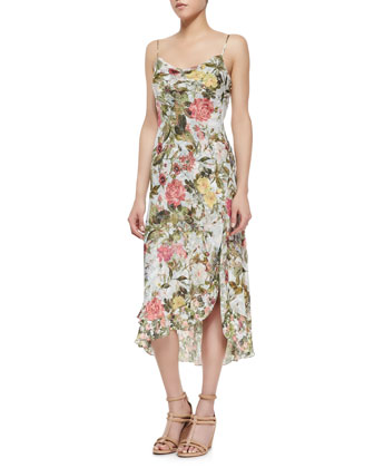 Garden of Eden Floral Silk High-Low Sundress