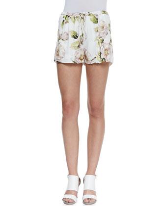 Thorn Floral-Print Drawstring Shorts
