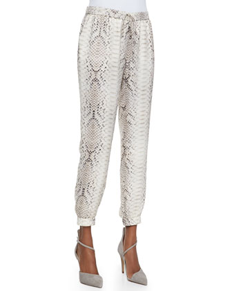 Silk Lace-Yoke Sleeveless Blouse & Anaconda-Print Cropped Pants