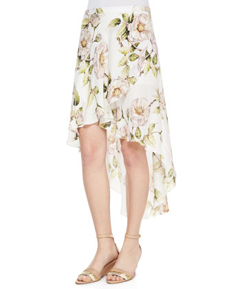Thorn & Floral-Print High-Low Skirt