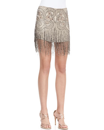 Silk Embroidered & Fringe Miniskirt