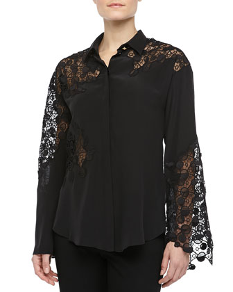 Long-Sleeve Blouse with Lace Detail