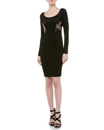 Scoop-Neck Leather Stud Cocktail Dress, Black