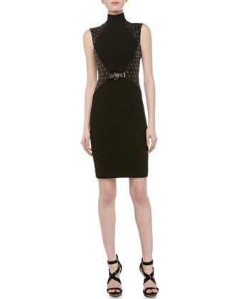 Mock Turtleneck Leather Studded Dress, Black