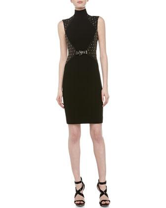 Mock Turtleneck Leather Studded Dress, Black