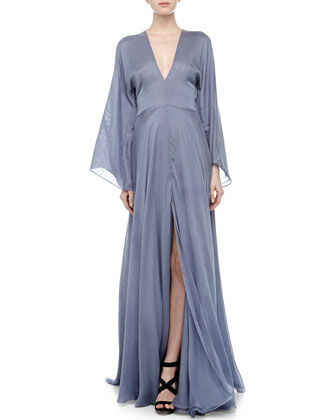 Plunging V-Neck Silk Gown