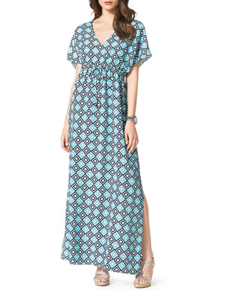 Diamond-Print Short-Sleeve Maxi Dress, Women's