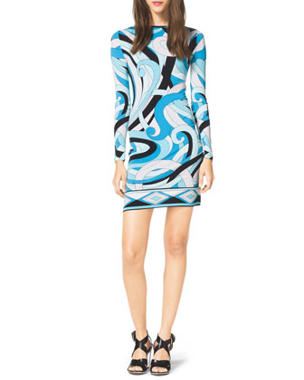 Long-Sleeve Printed Jersey Dress, Women's