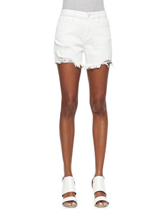 Quilt-Textured Denim Shirt and Denim Tomboy Shorts, White Destroy