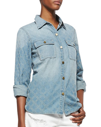 Quilt-Textured Denim Shirt