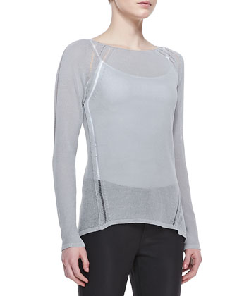 Labria Knit Long-Sleeve Sweater & Selena Waxed Slim-Leg Jeans