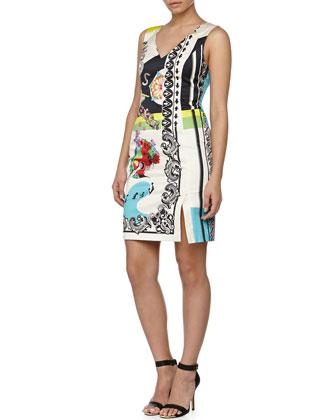 Sleeveless Multi-Print Sheath Dress