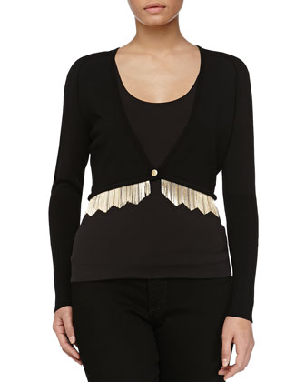 Cardigan with Metal Fringe