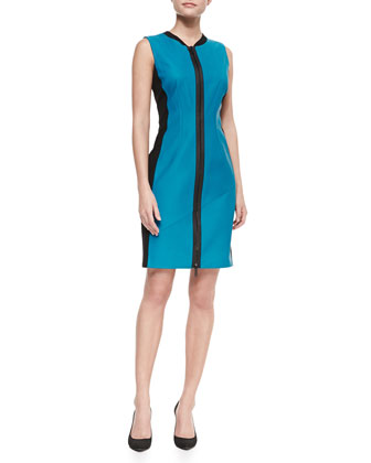 Colorblock Front-Zip Leather Dress, Apollo