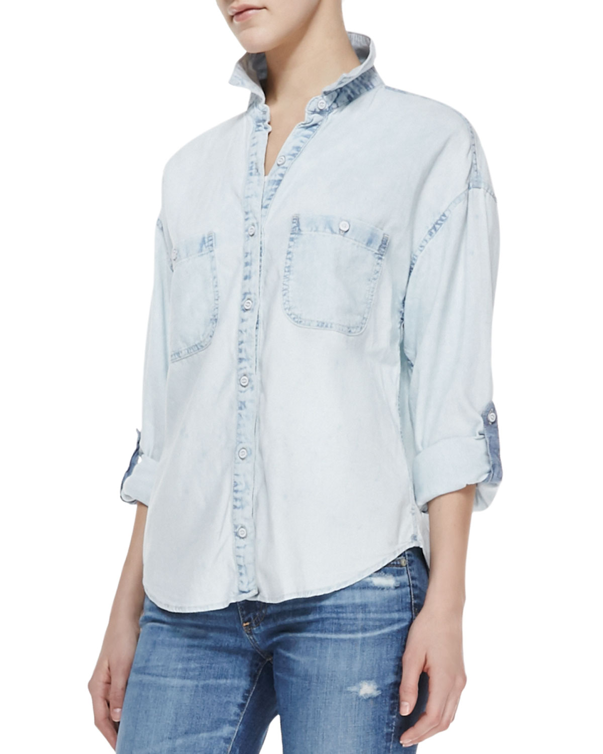 Womens Marcel Long Sleeve Shirt   AG Adriano Goldschmied   Dispersion (SMALL)