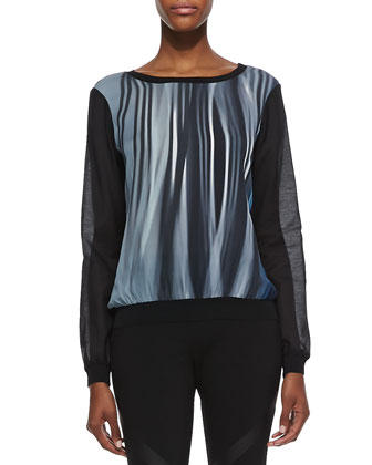 Kennedy Silk Stripe Long-Sleeve Blouse & Rylee Leather-Inset Skinny Pants