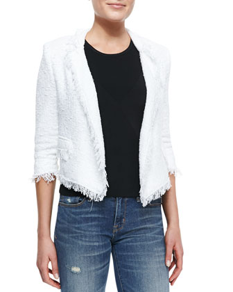 Fringe-Trim Cropped Tweed Blazer