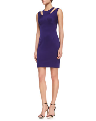 Cutout-Shoulder Stretch Fitted Dress