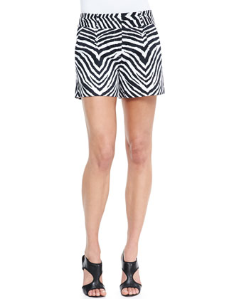 Ribbed Knit Diamond Shell & Zebra-Print Relaxed Twill Shorts