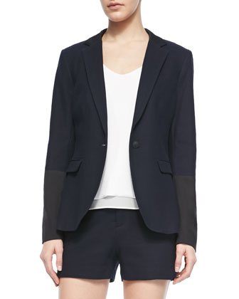 Timeless Blazer With Leather Accents, Chieftain Crepe Racerback Tank & ...