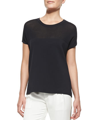 Nicola Mix-Fabric Easy Tee & Platini Side-Stripe Cropped Pants