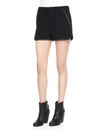 Denise Bateau-Neck Sweater & Platini Leather-Trim Shorts