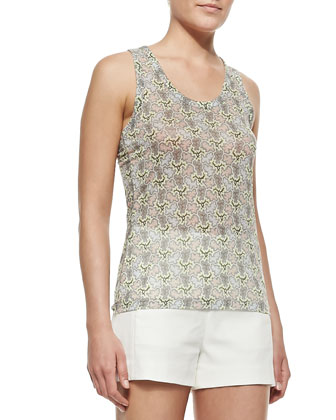 Ines Leather-Trim Crepe Vest, Lightweight Printed Sleeveless Top & ...