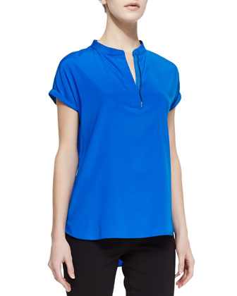 Rye Charmeuse Zip-Placket Top