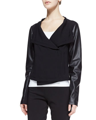 Nanette Perforated Faux-Leather Sleeve Jacket & Tahoe Mesh-Detail Knit Pants