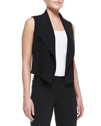 Zora Cropped Chiffon-Back Vest & Raquel Side-Zip Pants